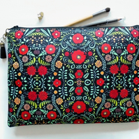 Folky floral, folk pocket bag, travel bag, cosmetic bag, zip bag, make up bag, c