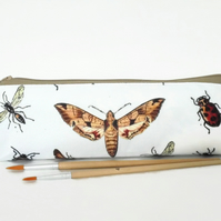 Insect print, pencil pouch, brush bag, art gift, student gift, teacher gift.