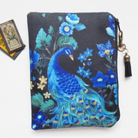 Peacock print, sewing pouch, zipper wallet, cometic bag, zipper wallet.
