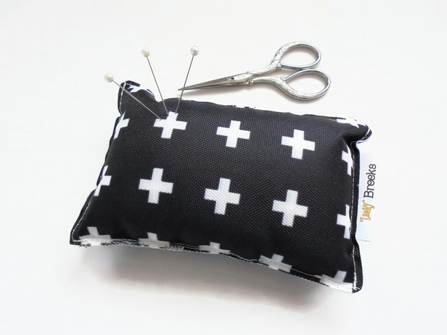 Crosses print, Pin cushion, seamstress gift, tailors gift, crafters gift, pin