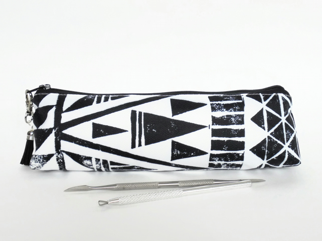 aztec, tribal, geo mix, monochrome mascara bag, pencil pouch, brush bag, art