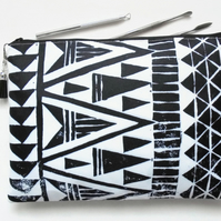Wash bag, tribal, monochrome, arrows, geo mix, travel bag, cosmetic bag.