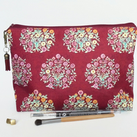 Canvas Wash bag, Raspberry florals, cosmetic bag, zip bag, make up bag floral