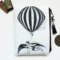 Zipper Pouch, Hot air Balloon Pouch, steampunk bag, dark victorian, gothic.