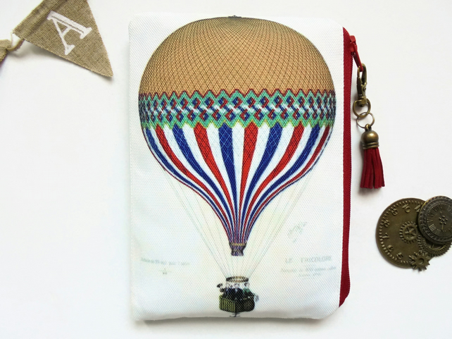 Colourful Hot air Balloon Pouch, steampunk bag, dark victorian, gothic, sewing p
