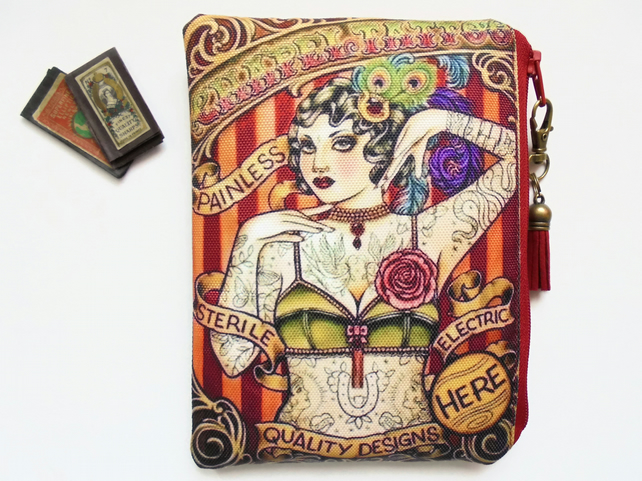 Tattooed woman, Retro tattoo, sewing pouch, zipper wallet, cometic bag.