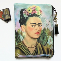 Frida Khalo, mexican, sewing pouch, zipper wallet, cometic bag, zipper wallet, s
