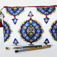 Wash bag, ornate, boho, gypsy, travel bag, toiletries, cosmetic bag, zip bag.