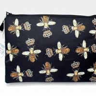 Wash bag, Golden embroidered bumble bee print, travel bag, cosmetic bag, zip bag