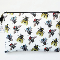 Wash bag, Vintage bumble bee species, travel bag, cosmetic bag, zip bag, make up
