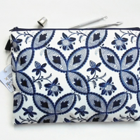 Wash bag, Botanical Indigo print, boho, pocket bag, travel bag, cosmetic bag