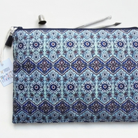 Wash bag, turkish tile print, travel bag, cosmetic bag, zip bag, make up bag