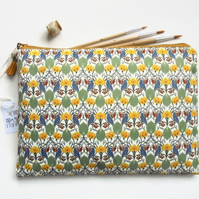 Wash bag, birds and leaves, travel bag, cosmetic bag, zip bag, make up bag, larg