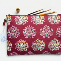 Wash bag, Raspberry florals, travel bag, cosmetic bag, zip bag, make up bag
