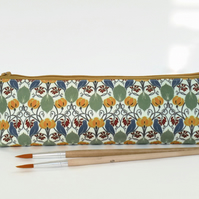Birds and leaves, mascara bag, pencil pouch, brush bag, art gift, student gift,