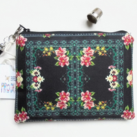 Border Print, black floral, small zipper bag, travel bag, wallet, zipper pouch.