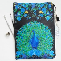 Peacock and floral, sturdy wash bag, travel bag, cosmetic bag, zip bag, make up