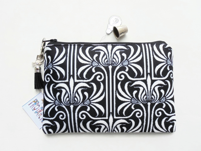 Monochrome, Art nouveau,  small zipper bag, travel bag, wallet, zipper pouch.