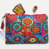 Colourful, Indian print,  small zipper bag, travel bag, wallet, zipper pouch.