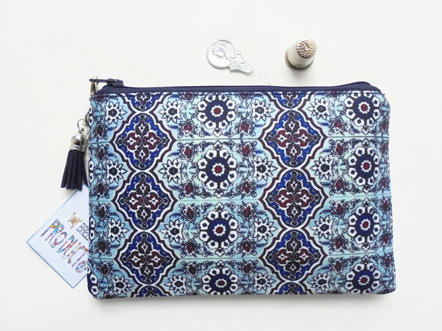 Mock tile, Turkish, small zipper bag, travel bag, wallet, zipper pouch.