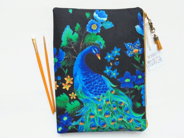 Peacock Wash bag, travel bag, cosmetic bag, zip bag, make up bag,