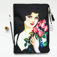 Gifts for her, 1920s woman with flowers,  wash bag, travel bag, cosmetic bag