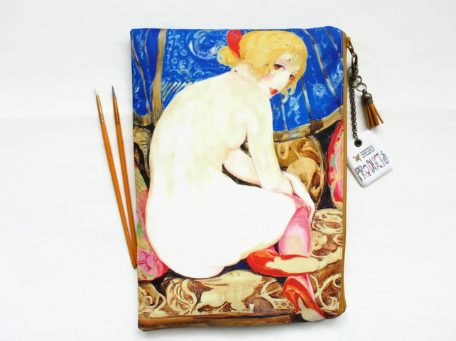 Gifts for her, 1920s  Risque flapper girl,  wash bag, travel bag, cosmetic bag,