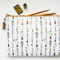 9.7 iPad floral sleeve,botanical,flower stems,travel bag, cosmetic bag, zip bag,
