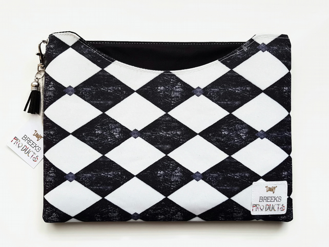 Custom iPad cases,harlequin,diamond print,black and white,tablet cases.
