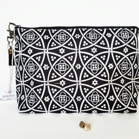 Wash bag,tile print,travel bag,cosmetic bag,zip bag,make up bag