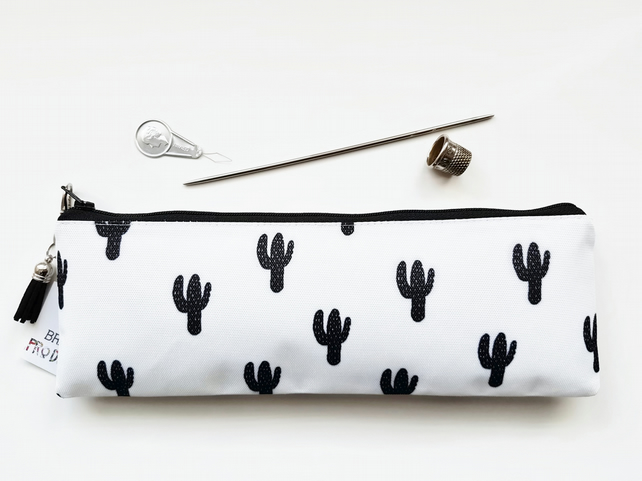 Art gifts, Cacti,Cactus,monochrome cacti,black and white pencil case,pencil bag