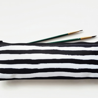 XLong brush bag,Art gifts,painted stripe,pencil case, student gift, teacher gift