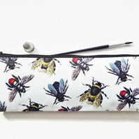 XLong brush bag,Art gifts,vintage bee species,pencil case, student gift, teacher
