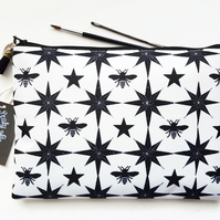 Gifts for her,Large Wash bag,bees fabric,star fabric,black and white fabric,bag