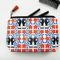 Large Make-up Bag,mothers day gift,wash bag,womens gift ideas,orange,black.