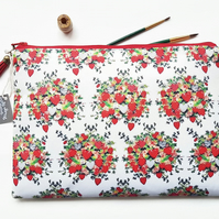 Love Hearts fabric,valentines print,sweetheart print,love hearts wash bag.