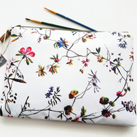 Large Botanical print Washbag,Floral print toiletry bag,floral cosmetic bag