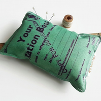 Ration book, Canvas Pin cushion,seamstress, tailor, crafter, desk tidy,pins,need