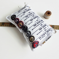 cotton reels pin cushion,Canvas Pin cushion,seamstress, tailor, crafter