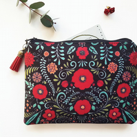 Red folky print wallet,floral makeup bag,folk print zipper bag,floral wallet bag