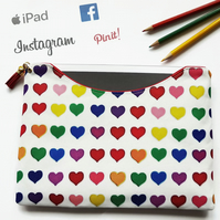 Made to measure iPad sleeve,Love hearts colourful tablet sleeve,samsung cover.