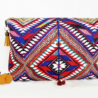 Gifts for her, Canvas Wash bag, aztec print, tribal Dumpy bag, cosmetic bag, zip