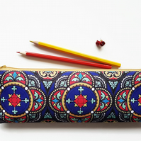 XLong brush bag,Art gifts,stained glass print pencil case, student gift,teacher