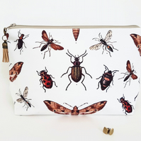 Bugs,moths,insects wash bag,dumpy bag,toiletries bag,cosmetic bag, zip bag
