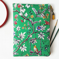 Chinoiserie washbag,large makeup bag,canvas cosmetic bag,chinoiserie zipper bag,