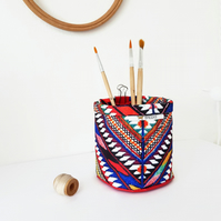 Mini Storage Bins,wall grid storage,aztec print,organiser bin,