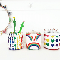 Mini Storage Bins,wall grid storage,rainbow print,organiser bin,lovehearts