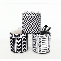 Mini Storage Bins,wall grid storage,chevron print,organiser bin,monochrome