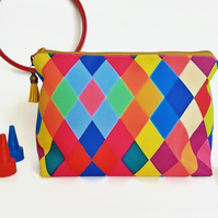 Colourful wash bag,harlequin fabric,colour pop washbag,canvas cosmetic bag.