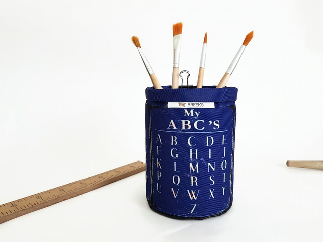 Vintage abc caddy,Glasses caddy,pencil caddy,desk organiser